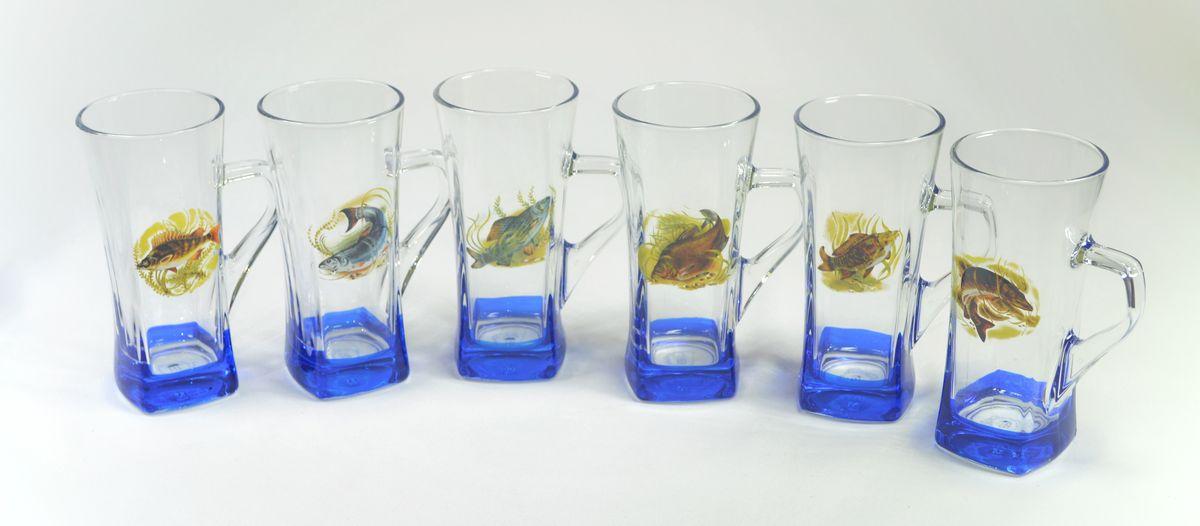 Hrnek 330ml GEO B. RYBY modrý-obtisk, sklo