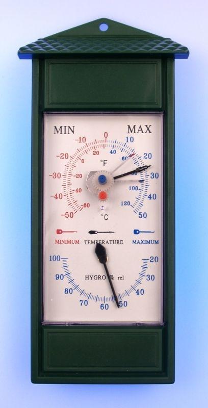 teploměr+vlhkoměr 25x11cm, MAX-MIN, univ.-zelený