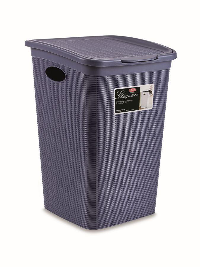 koš 50l na použ.prádlo,tm.modrý ratan, 54,5x38x37c