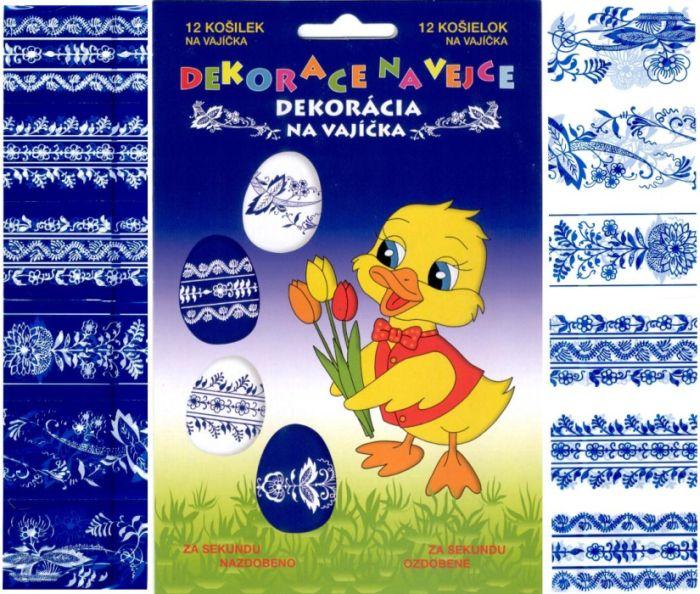 dekorace vajec, MODRO-BÍLÁ, 12ks, smršt.fóle