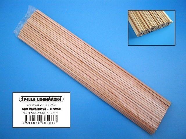 špejle 30cm, d3mm, 100ks, uzenář., balené, dřevo