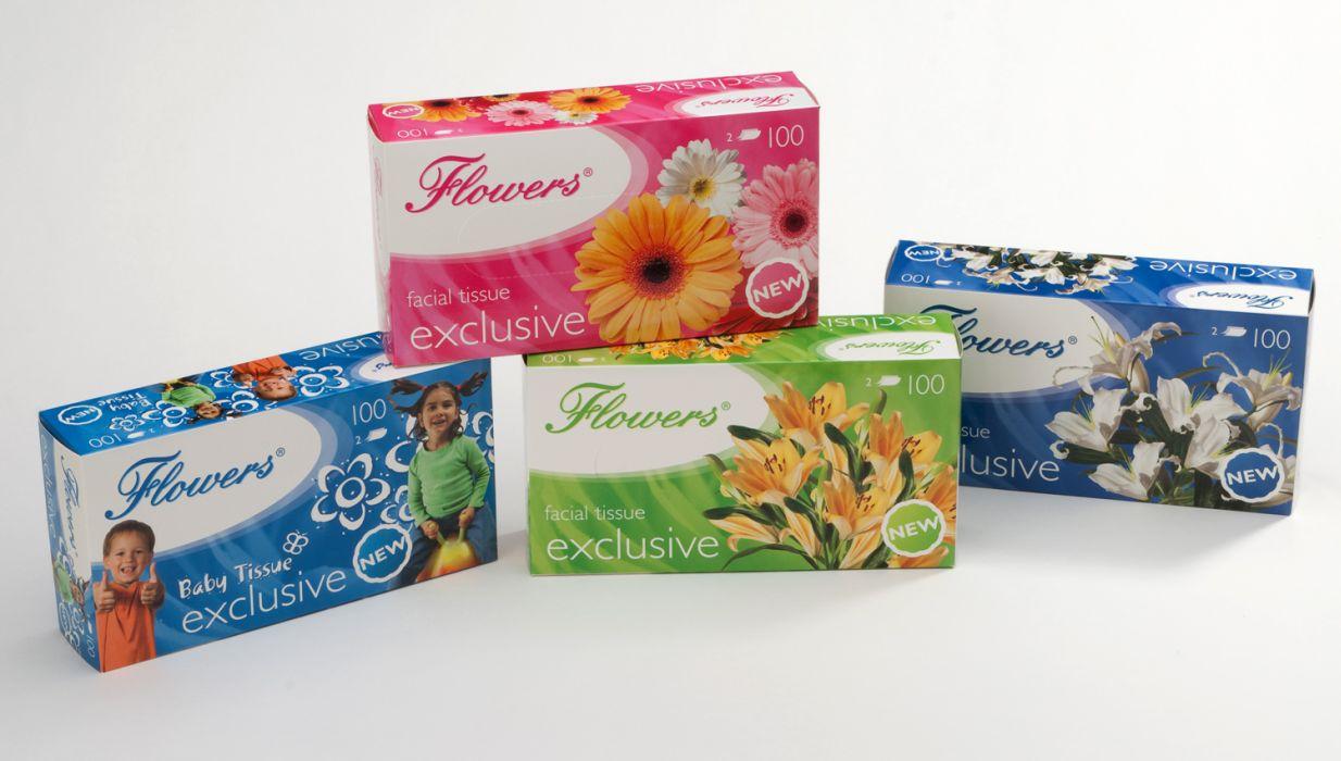 kapesníky kosmet.2vr.,100ks, Flowers,krabička,4dek
