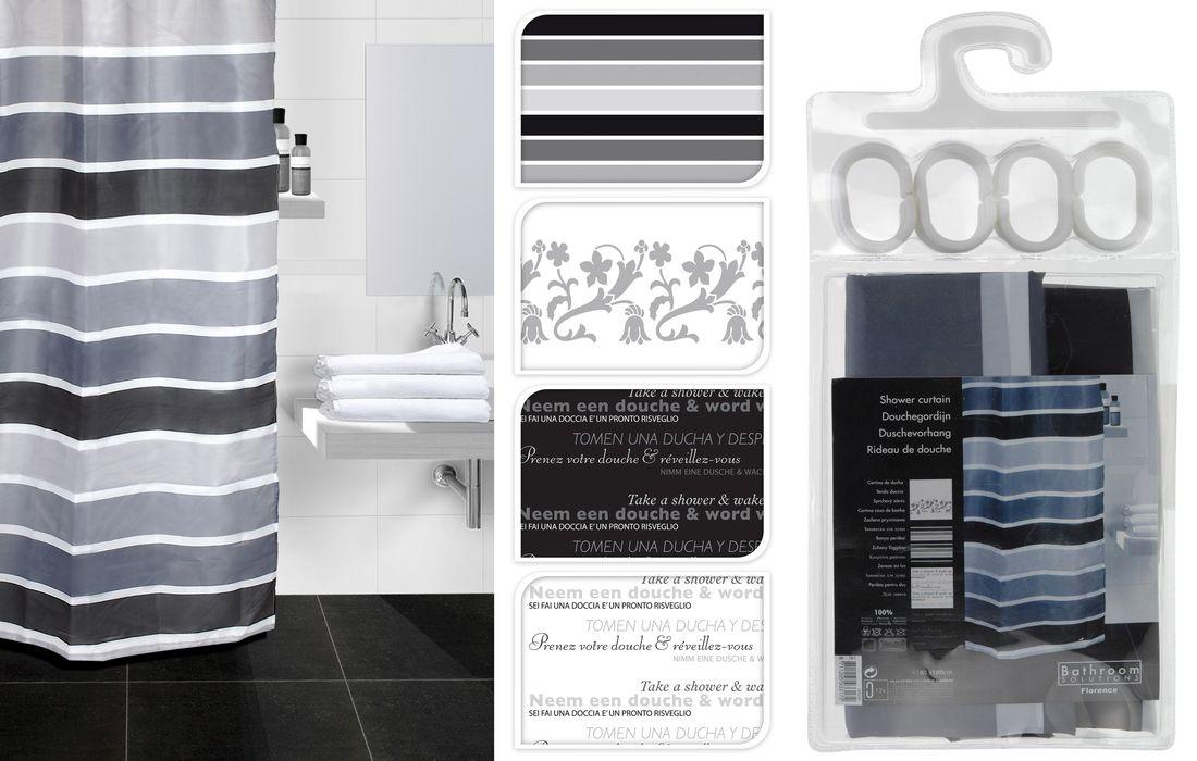 závěs 180x180 PES koupel. 4dekory, černobílý