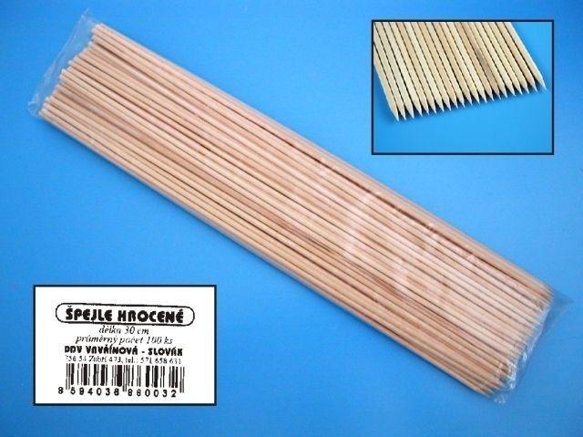 špejle 30cm, d3mm,100ks, hroc., špíz, dřevo