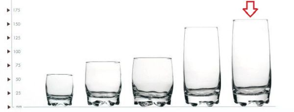 sklen. 390ml, 6ks, ADORA v.14,5cm - long drink