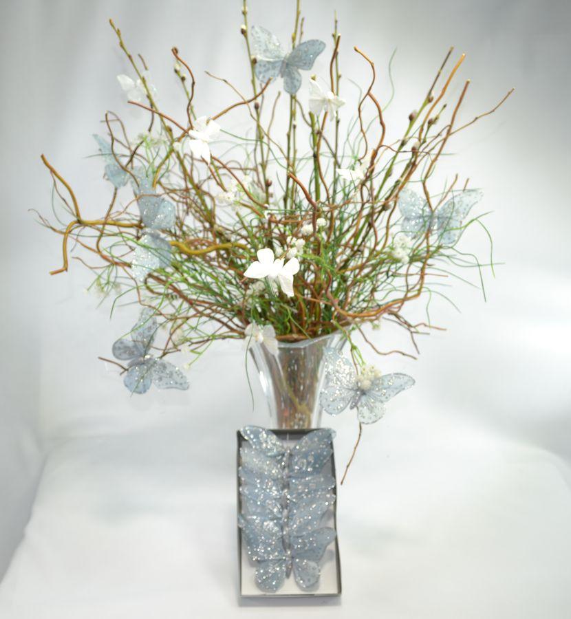 dekorace Motýl textil 6ks/12cm šedý, zápich