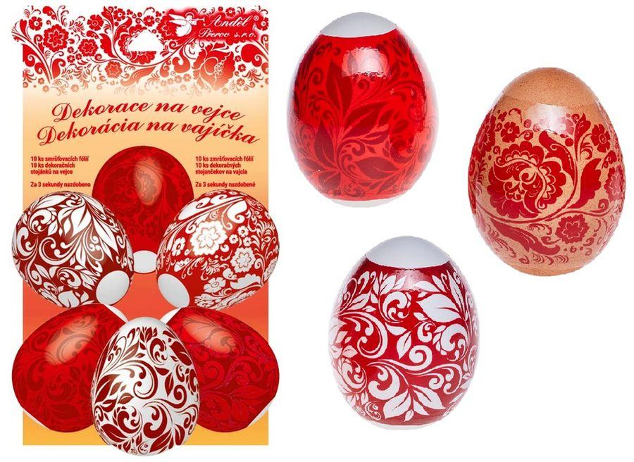 dekorace vajec Červená 10ks+10stojánků, smršť.fóli