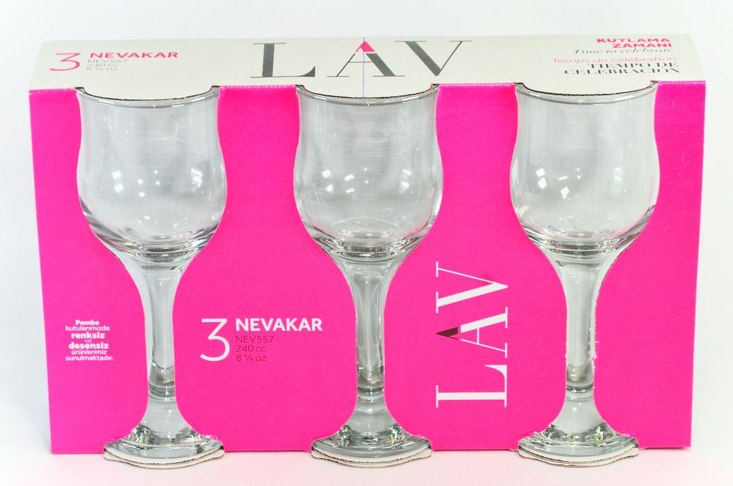 sklen. 240ml, 3ks, NEVAKAR v.16,5cm - č.víno