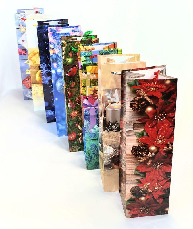 taška na láhev, VÍNO, vánoční 33x10x10cm, papír