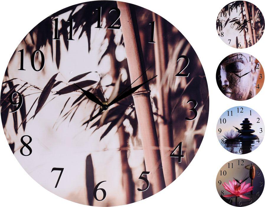 hodiny d33cm, 4 dekory, nástěnné