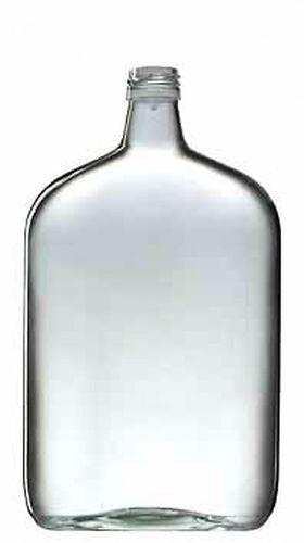 láhev 1,0l TASCHENFLASCHE(placatka)šroubení, sklo