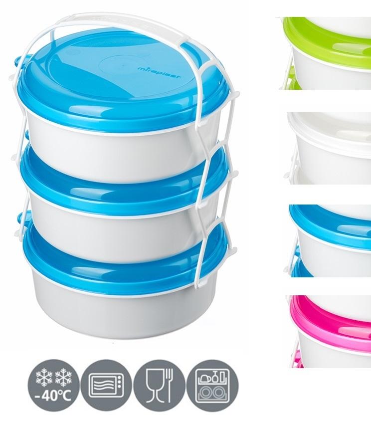 jídlonosič 3D (3x1,0l), 3barvy, (i do MV trouby)