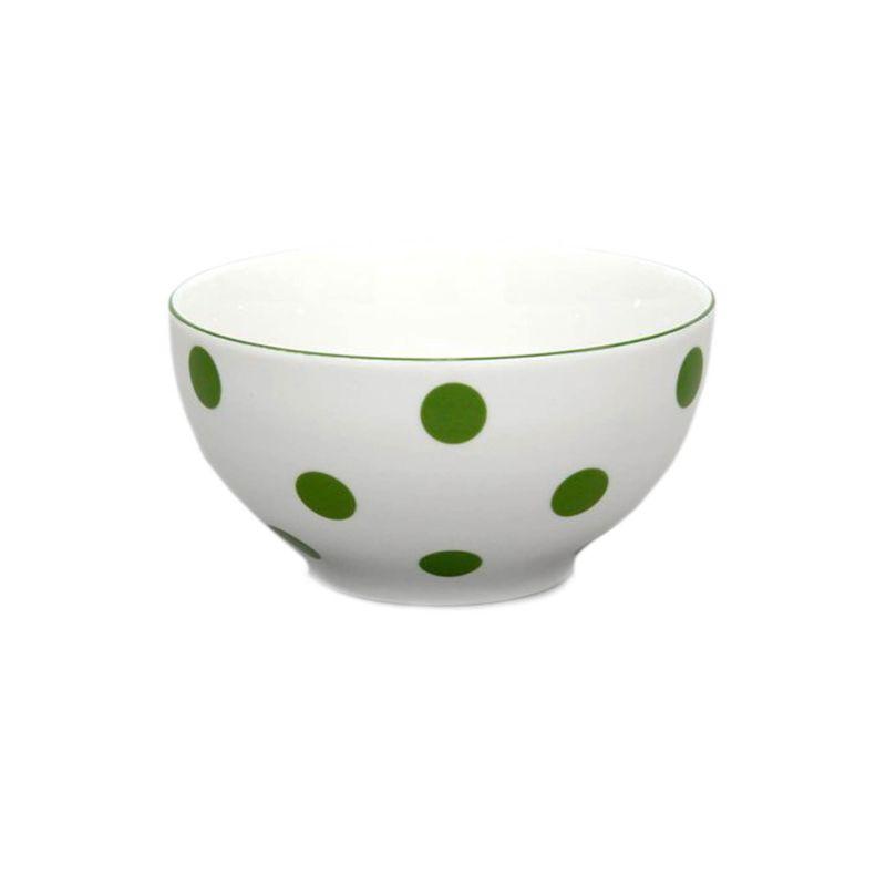 miska d14,5cm polév.zelený puntík-1.jak.THUN, čs.