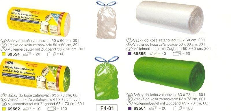 sáčky odp. 60l-10ks-63x73cm, zatahovací