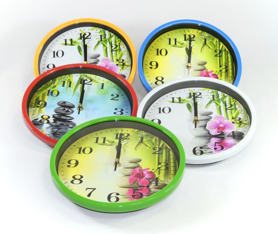 hodiny d25cm, KAMENY/KVĚT, mix dekorů