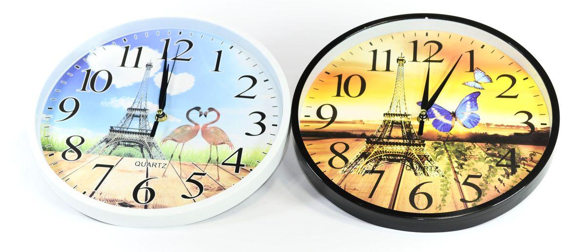hodiny d30cm, EIFFELOVKA,  2dekory