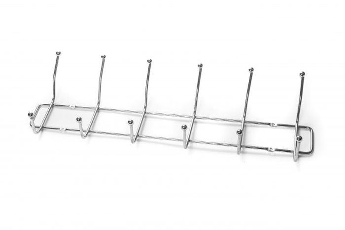 věšák 6-háčků 44x13cm drát,tenký,šroubovací, chrom