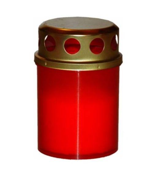 svíčka  4ks LA BD 40g, červená+kov.víčko, hřbitovn