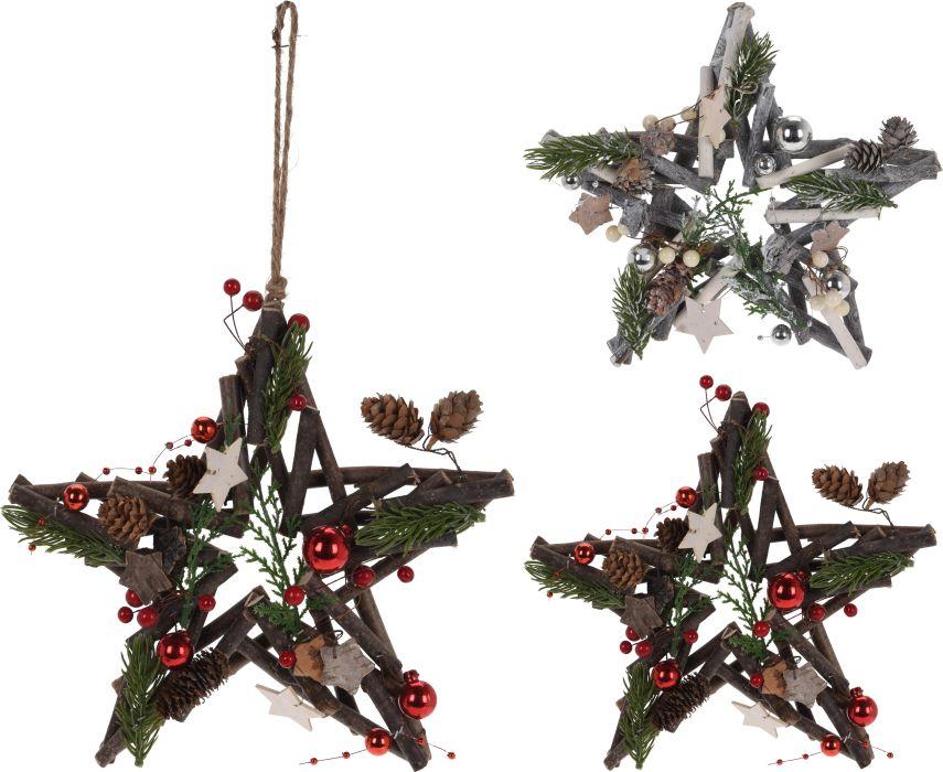 dekorace 25cm, HVĚZDA, dřevo, závěs