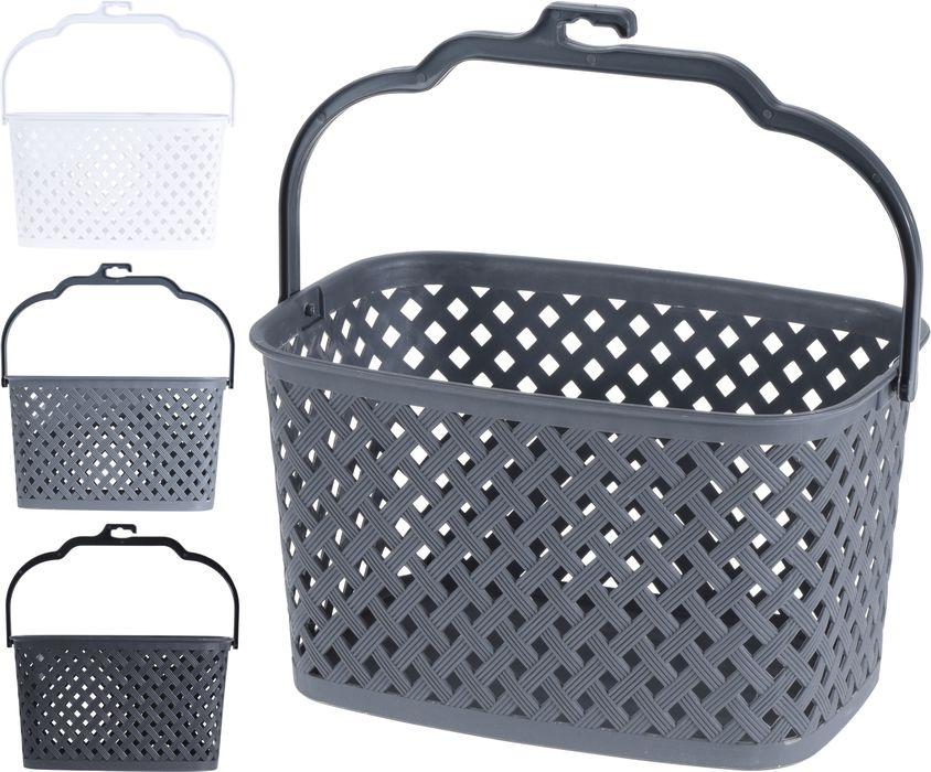 košík na kolíčky 21x14x13cm,šedý,bílý,černý