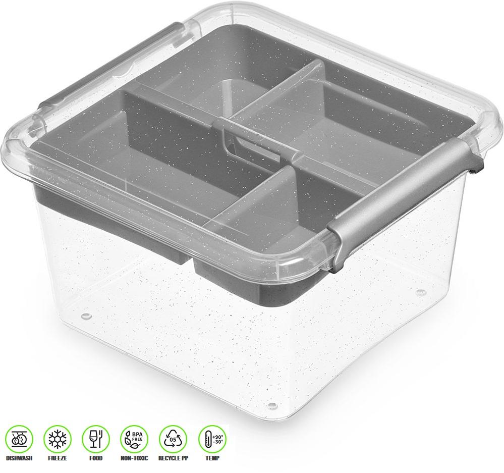 antibakter.box  1,15 l+vložka 15x15x 8,5cm,transp.
