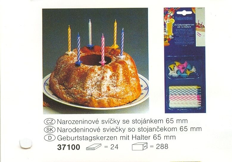 svíčky 24ks dort.+stoj.65mm
