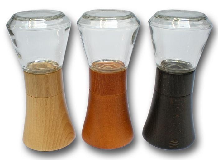 mlýnek FARO na koření, 15cm, sklo+přírodní dřevo