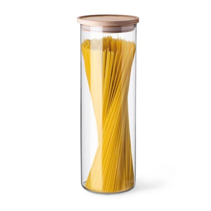 dóza 1,80l, d96x290mm, sklo, na špagety-dřev.víko