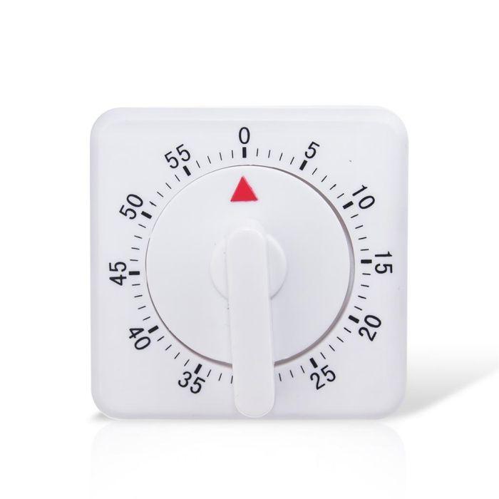 minutník 7x7x5cm, hran., mechan., plast
