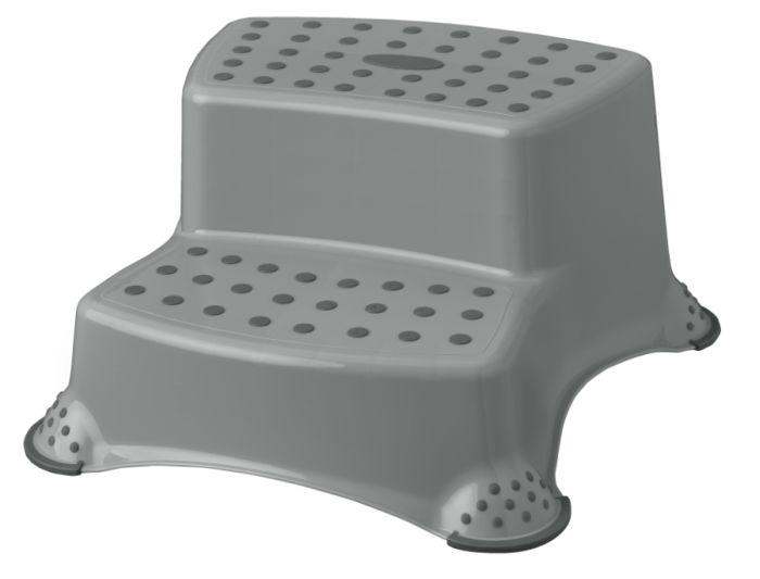 taburetka 40x37,v.21cm,2stupně,šedá,plast