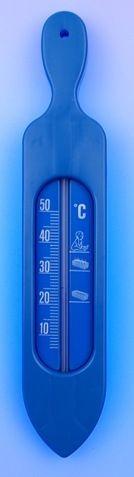 teploměr 19,5x3,8cm koup., 10°C+50°C, LOĎ modrá