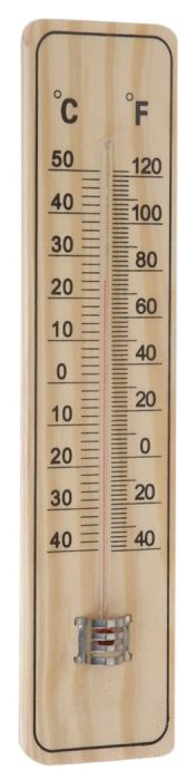 teploměr univ. 22x5cm, -40°C+50°C, dřevo