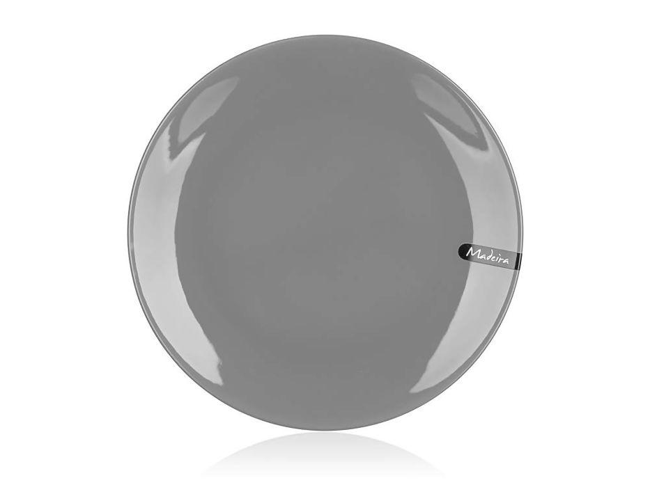 talíř d26,5cm mělký, MADEIRA šedý, keram.