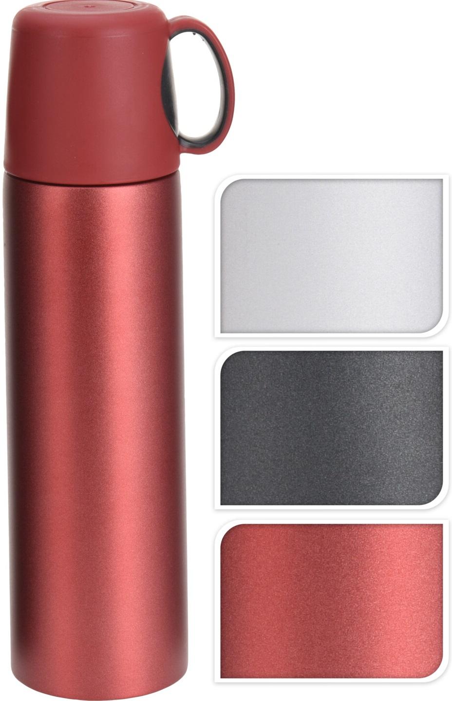 termoska 0,5l barevná, víčko=šálek, 3barvy
