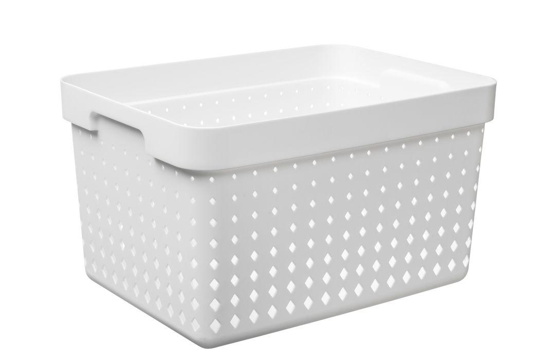 košík SEOUL L, 36x27x20cm-bílý, plast