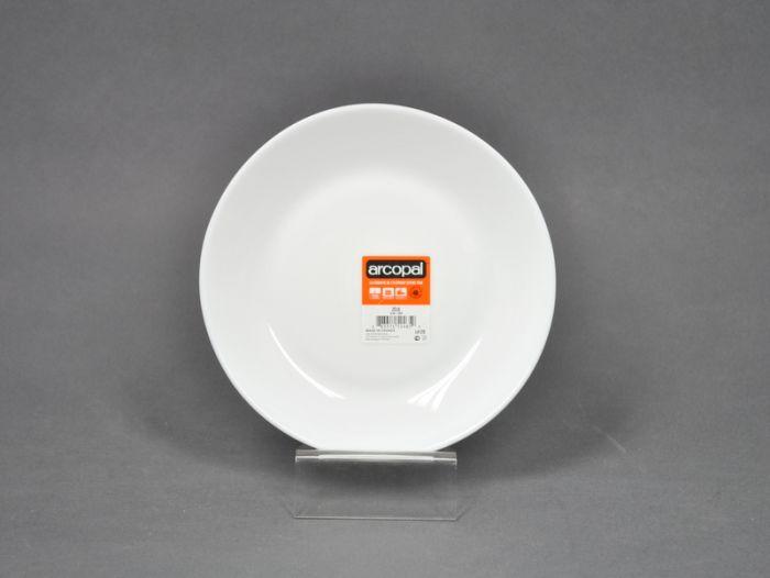 talíř d18cm dezertní, ZÉLIE, bílý SKLO