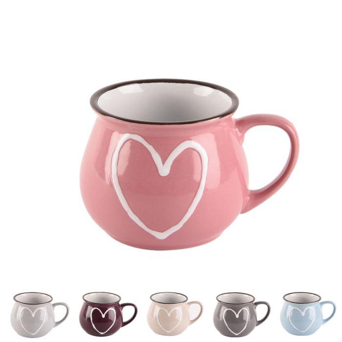 hrnek 320ml SRDCE-Heart, 6barev, keramika