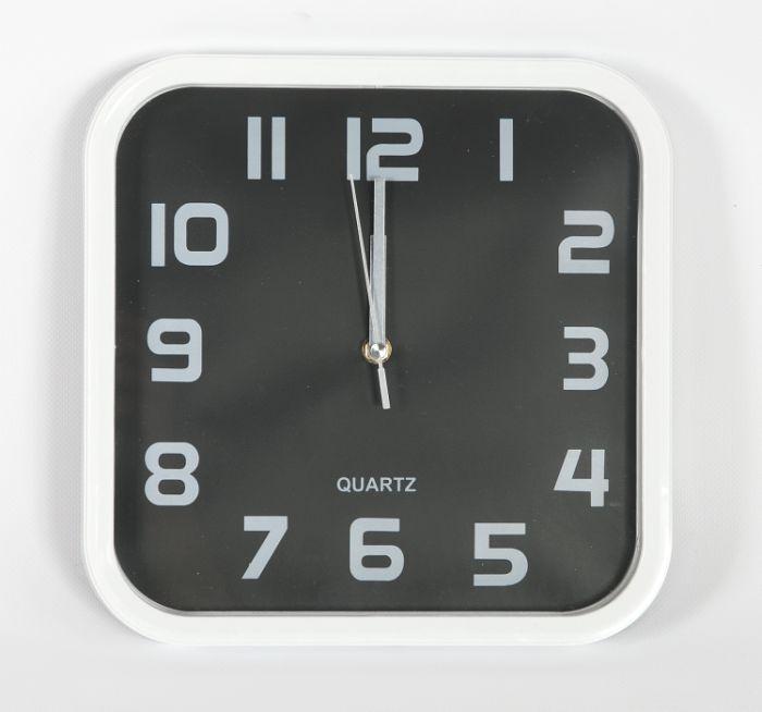 hodiny 28x28cm, čtverec, bílý rám,černý ciferník