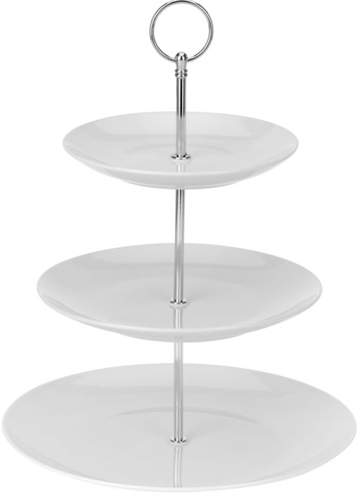 etažér 3patra,  d16,5/20/25, v.35cm, porcelán/Cr