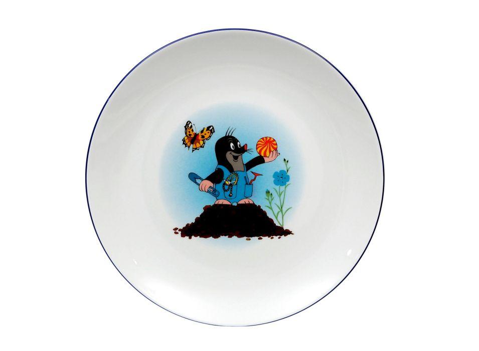 talíř d21cm mělký, KRTEK a hromád,,dětský,český po