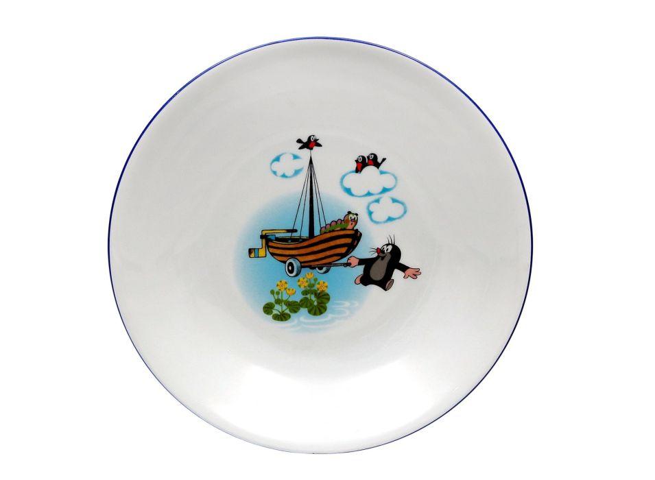 talíř d20cm hluboký, KRTEK a loďka, dětský,český p