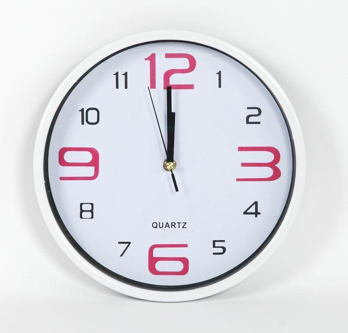 hodiny kulaté d28cm, bílý ciferník, MIX barev