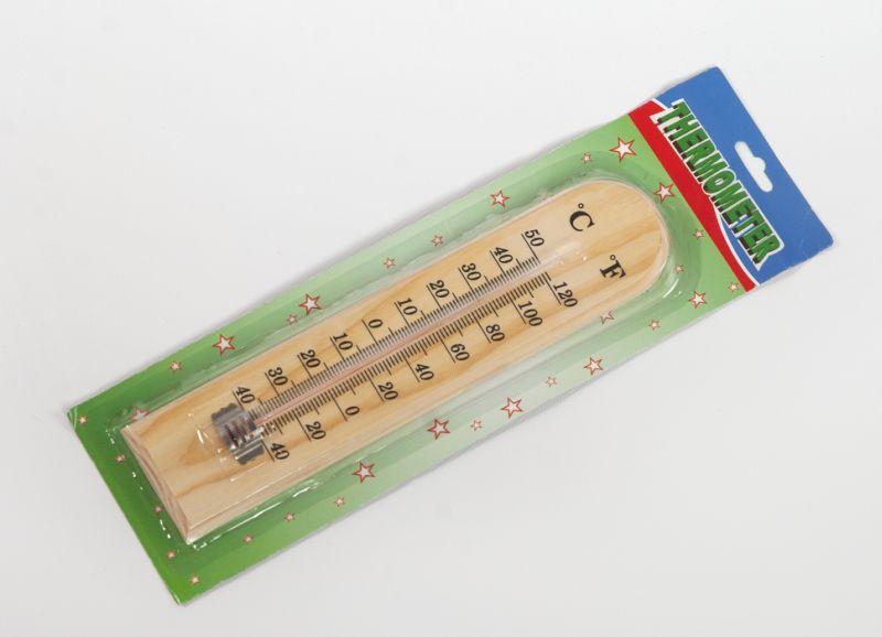 teploměr univ. 27x6cm, -40°C+50°C, dřevo