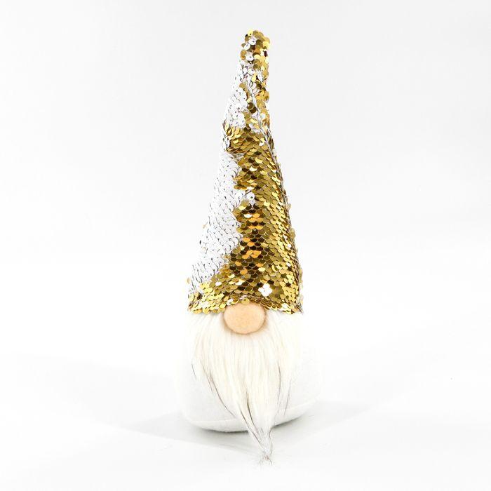 skřítek 29cm, textil s měnícími flitry bílá/zlatá