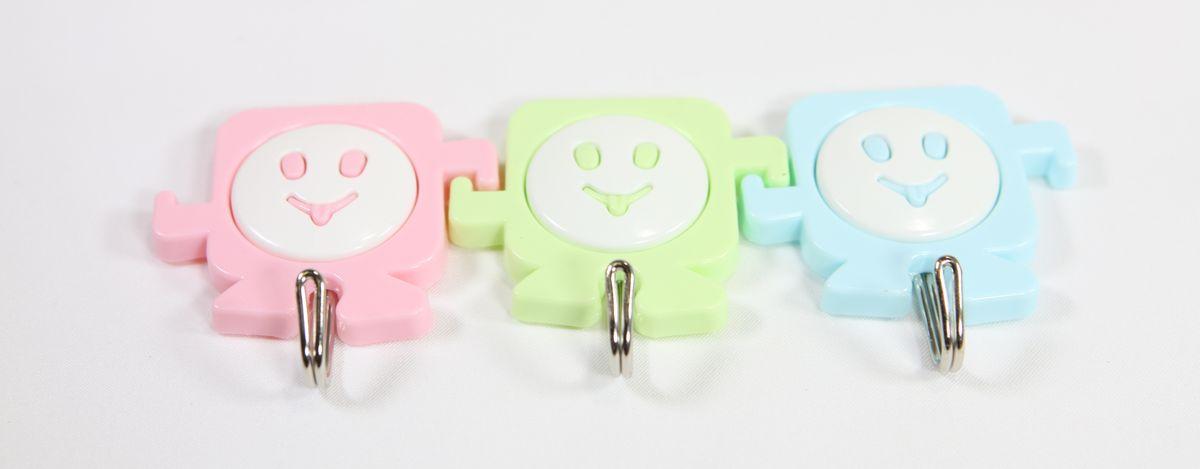háček-3ks-SMAJLÍK-barevný, kov.háček, samolep.