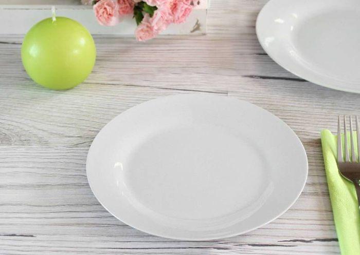 talíř d23cm mělký, bílý porcelán