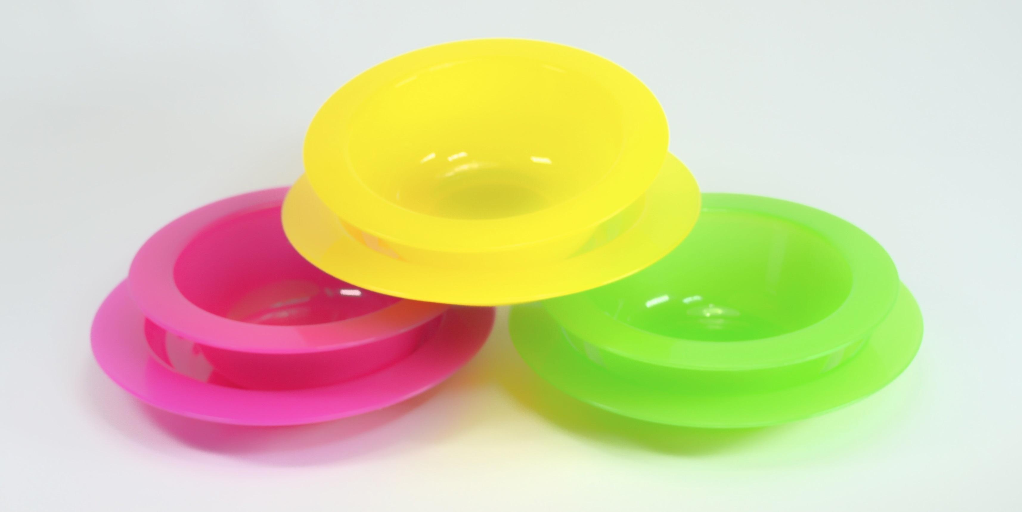 talíř 2ks dětský transpar,PP plast, MIX barev