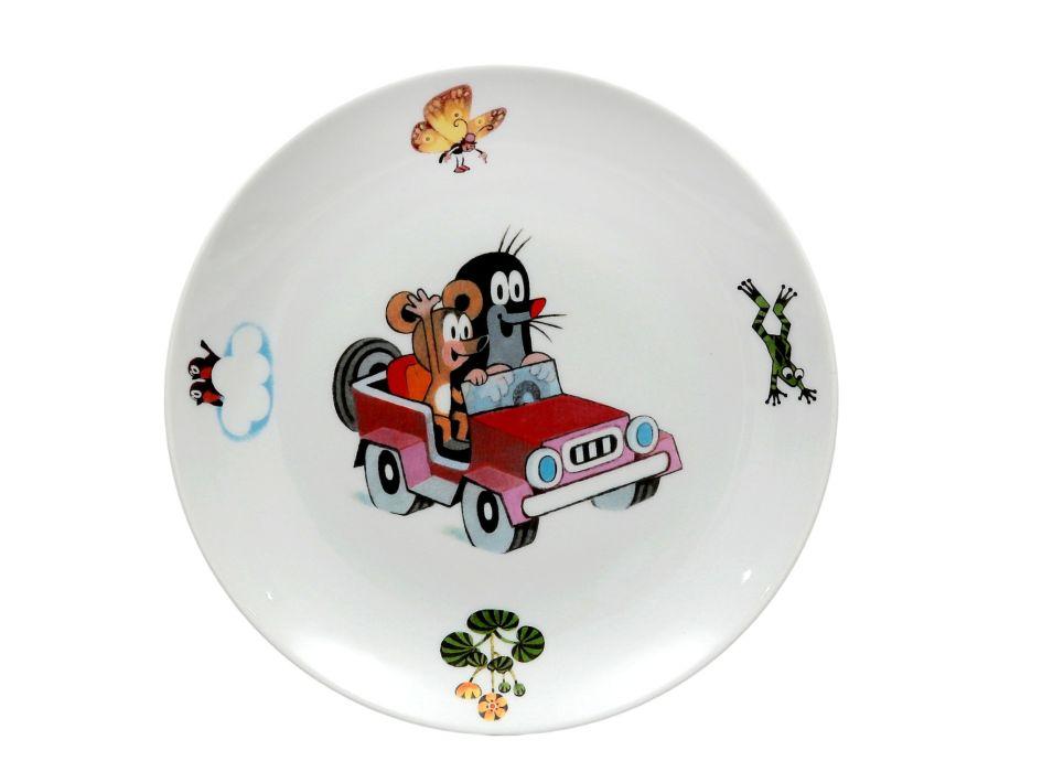 talíř d21cm mělký, KRTEK a auto,dětský,český porc.