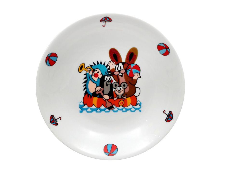 talíř d20cm hluboký, KRTEK a člun, dětský,český po