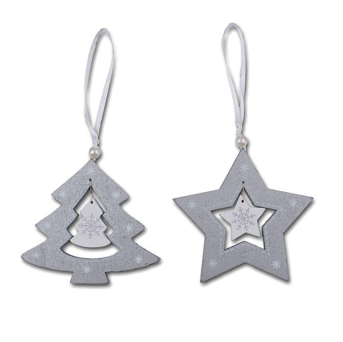 ozdoby 8,5cm stříbr., vánoč., závěs, dřevo